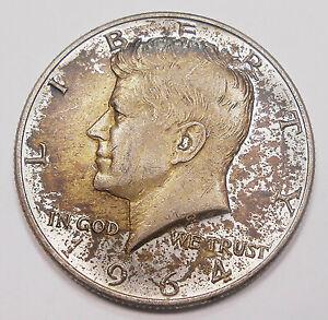 United States 1964 SILVER Half Dollar AU+ TONED 1st Year John F. Kennedy USA 50¢