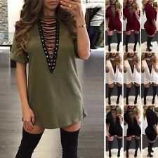 UK 8-16 Women Choker V Neck Casual Loose Tops T-Shirt Lace-up Plunge Mini Dress