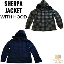 MENS HOODED SHERPA JACKET Lined Fleece Warm Shirt Coat Winter Polar Fleece 0778