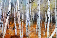 Birch Forest Modern Oil Painting on a Rolled Linen Canvas 90cm x 60cm