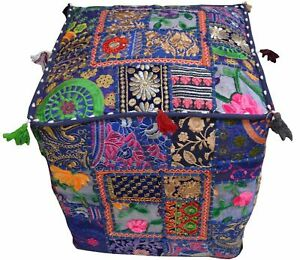 Indian Square Handmade Blue Cushion Pouf Floor Cover Ottoman Patchwork Cotton