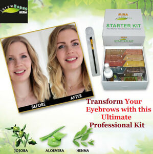 MINA Ibrow Henna Starter Kit contain 8 color,cleanser,nourish oil,Brush, Stencil