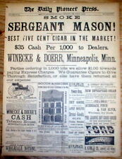 1882 St Paul Minnesota newspaper w large FP ad - BEST 5 CENT CIGAR on THE MARKET