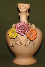Vintage hand made glazed ceramic floral pitcher
