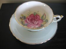 PARAGON LIIGHT BLUE PINK CABBAGE ROSE BOTTOM TEACUP AND SAUCER