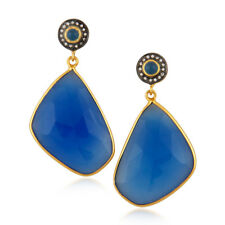 Blue Chalcedony Drop Fashion Earrings 18k Gold Plated Brass Jewelry