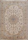 Excellent Traditional Floral IVORY/BEIGE Ardakan Area Rug Hand-Knotted 10'x13'