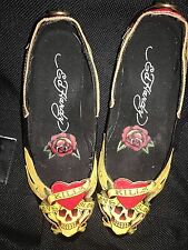 Ed Hardy Women's Size 6 Patent Leather Flats Shoes