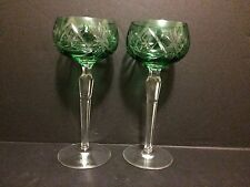 GREEN EMERALD CASED CUT CLEAR CRYSTAL WINE GOBLETS