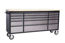 """US PRO TOOL CHEST BOX BENCH BLACK WITH STAINLESS STEEL 72"""" FINANCE AVAILABLE!"""
