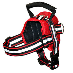 RED Heavy Duty Dog Puppy Pet Adjustrable Harness Vest Mesh Handmade Reflective