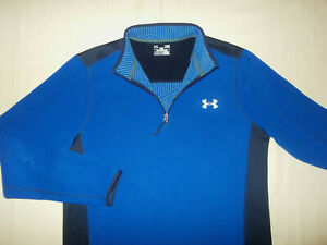 UNDER ARMOUR COLD GEAR 1/4 ZIP LONG SLEEVE BLUE FLEECE PULLOVER MENS LARGE EXC.