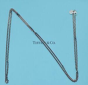"Tiffany & Co. Chain Silver Black Enamel Finish Chain 30"" Long Fast Ship"