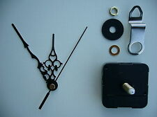 CLOCK MECHANISM QUARTZ EXTRA LONG SWEEP SPINDLE 99mm BLACK ORNATE HANDS