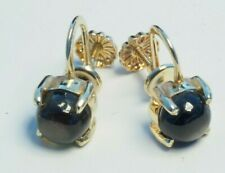 Solid 14K Yellow Gold Ladies woman Onyx Earrings with screw back 3 gram