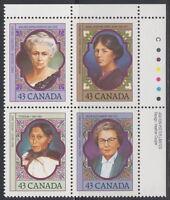CANADA #1456-1459 43¢ Prominent Canadian Women UR Inscription Block MNH