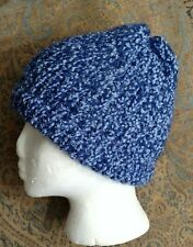 Hand knitted sparkly blue beanie
