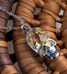 Hot Betsey Johnson Woman's Silver Enamel Skull Pendant Charm Chain Necklace