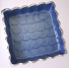 """Julia Knight 6"""" Square Azure Blue Enamel & Aluminum Trinket/Serving Dish"""