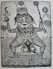 JIRI HAVLICEK : « Le Roi dans son bain » . Eau forte originale. Carte de vœux 19