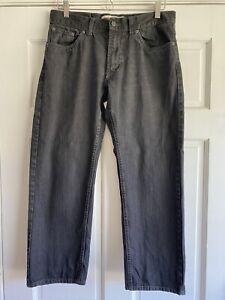 AF35 Levis 505 Jeans Black Stretch Denim Boys 12 Husky 32x27