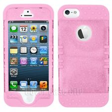 Clear Glitter Hard Case Light Pink Impact Hybrid Cover for iPhone 5 5S KoolKase