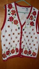 VINTAGE WOMEN'S UGLY CHRISTMAS SWEATER VEST SIZE 16W POINSETTIA WITH BEADS NWT'S