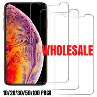 100X Wholesale iPhone Clear Screen Protector For iPhone SE 12 11 Pro XS X 8 Lot