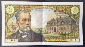 Billet 5 Francs Pasteur 5 Mai 1966, Rare petit Numéro.