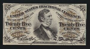 US 25c Fractional Currency Note Green Back FR 1294 Ch CU