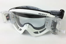 SCOTT RECOIL XI MOTOCROSS MX GOGGLES WHITE with GSVS ROLL-OFF SYSTEM NEW