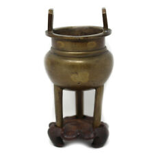 Antique Oriental Tripod Censer Chinese Japanese On Stand Signed