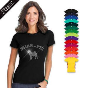 Damen T-Shirt Baumwolle Strass Strasssteine Hund Shar-Pei M1
