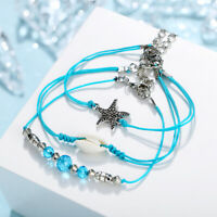 Women Sea Shell Starfish Beads Anklet Ankle Bracelet Foot Chain Beach Jewelry FM