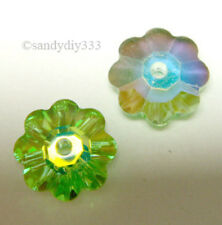 12x SWAROVSKI 3700 PERIDOT AB Unfoiled MARGARITA FLOWER 6mm CRYSTAL SPACER BEAD