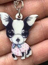 "Dog Chihuahua Black White Enamel Big Eyes Charm Tibetan Silver 18"" Necklace D832"
