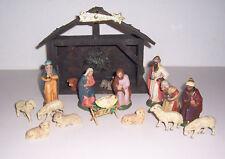 Schöne alte Weihnachtskrippe Massefiguren Krippenfiguren Stall Tiere Weihnachten