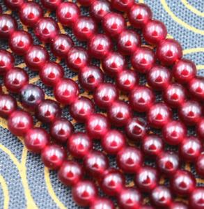 "4MM Natural South America Garnet Smooth Gemstone Round Loose Beads 15"" Strand"