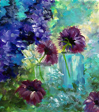 Pretty blue jars with purple flowers print reproduction of my original paintin