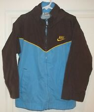 Boys NIKE~BROWN BLUE Windbreaker JACKET~sz 6~NEW Hooded Full Zip Lined Raincoat
