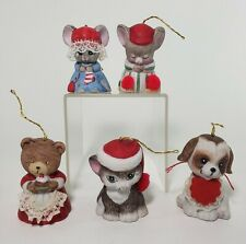"Jasco Bell Animal Figurines Christmas Ceramic 2.5"" Dog Cat Mouse Bear"
