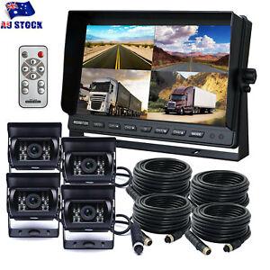 "9"" Quad Split Screen Monitor 4*Rear View Reverse Camera Kit For Caravan Truck RV"