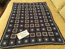Handmade Afghan / Throw Blanket - Designer Collection - Blue & Brown Beauty