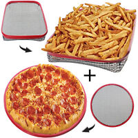SILICONE Reusable Washable Non Stick Oven Shelf Large Pizza + CHIP TRAY Basket