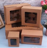 Kraft Paper Handle Box Cake Dessert Candy Gift Towel Package Box w/Clear Window