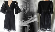 Flapper Dress Gatsby Vintage Victorian Lace Gothic Boho 40s Tea Black 10 38 US 6