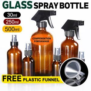 30ml-500ml Amber Glass Essential Oil Spray Mist Sprayer Bottles Containers AU