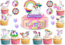CUTE UNICORN Cup Cake Scene Toppers Wafer Edible STAND UP PERSONALISE