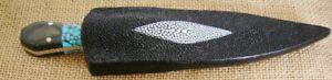 Jim Ort OZ Custom Fighting Stiletto Dagger Fixed Blade Knife, Turquoise/Micarta,