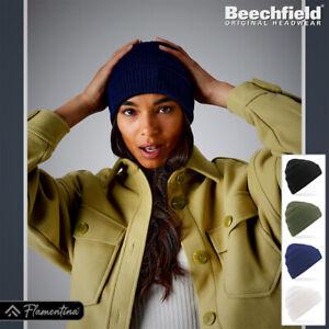 Organic Cotton Beanie Hat Beechfield Headwear Double Layer Knit Cap Unisex Mens